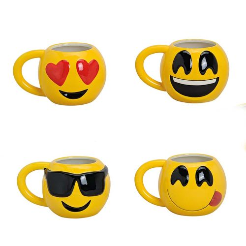 4er Becher Emoticon aus Keramik B10 x H12 cm 610 ml