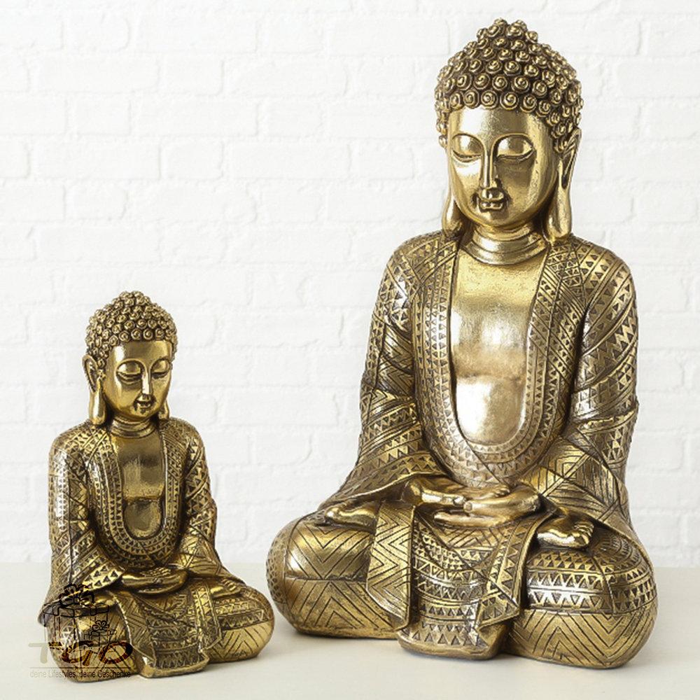 Deko In Gold.Deko Buddha Jarven Sitzend Gold Kunstharz Höhe 39 Cm