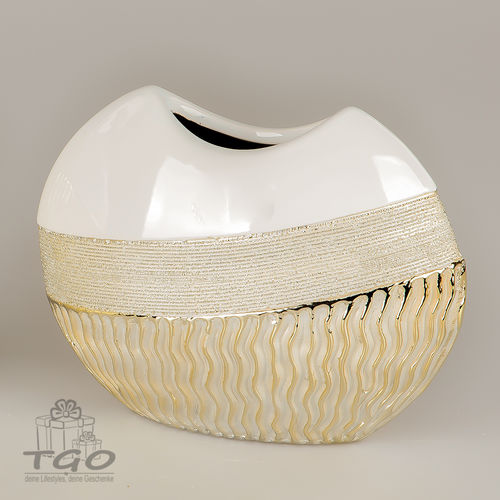 Formano Tischdeko Blumenvase Waves- gold 20x17cm