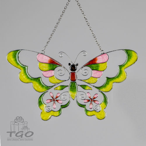 Formano Fensterdeko Hänger Schmetterling Tiffany-Art grün 30cm