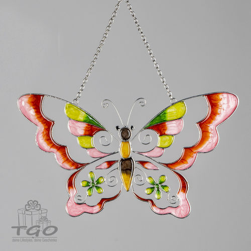 Formano Fensterdeko Hänger Schmetterling Tiffany-Art rosa 30cm